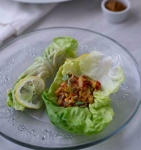 Rollitos de Lechuga y Picadillo de Vegetales